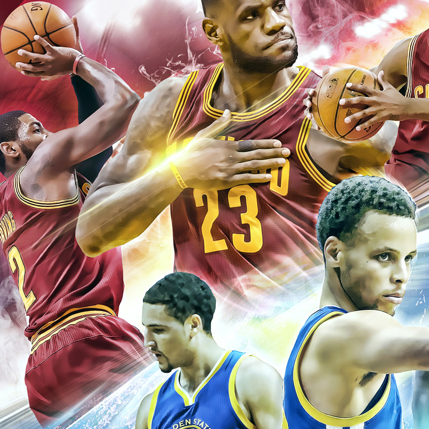 2015 nba finals artwork closeup