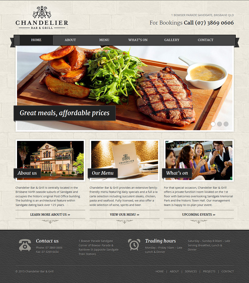 Chandelier Bar & Grill Responsive Website Homepage