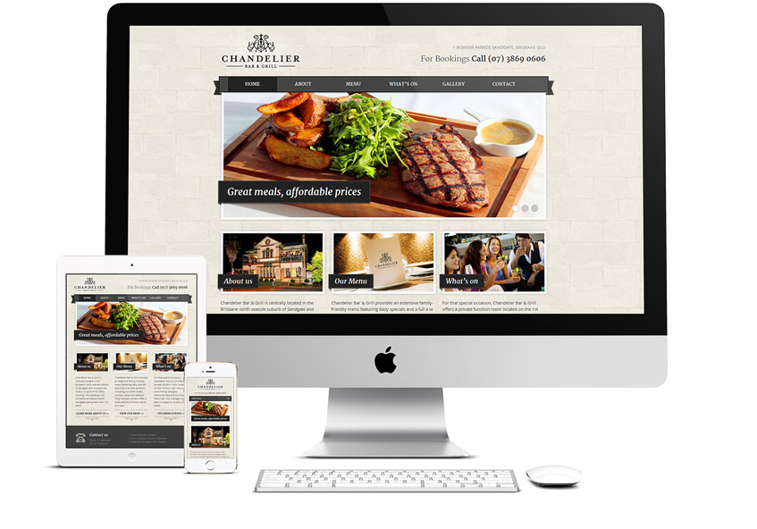 Chandelier Bar & Grill Responsive Website