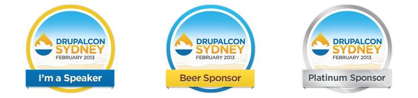 Drupalcon Sydney Sponsor Badges