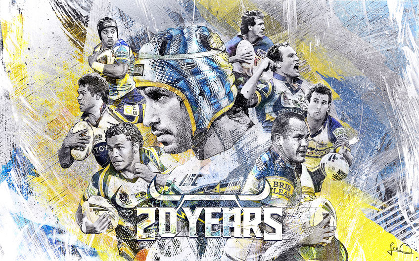 North Queensland Cowboys 20 Years Artwork