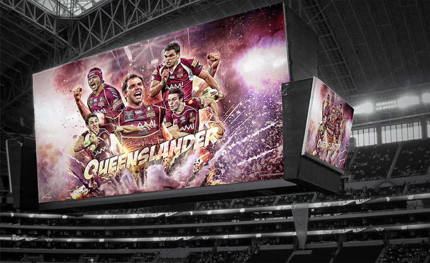 NRL State of Origin Queenslander Artwork