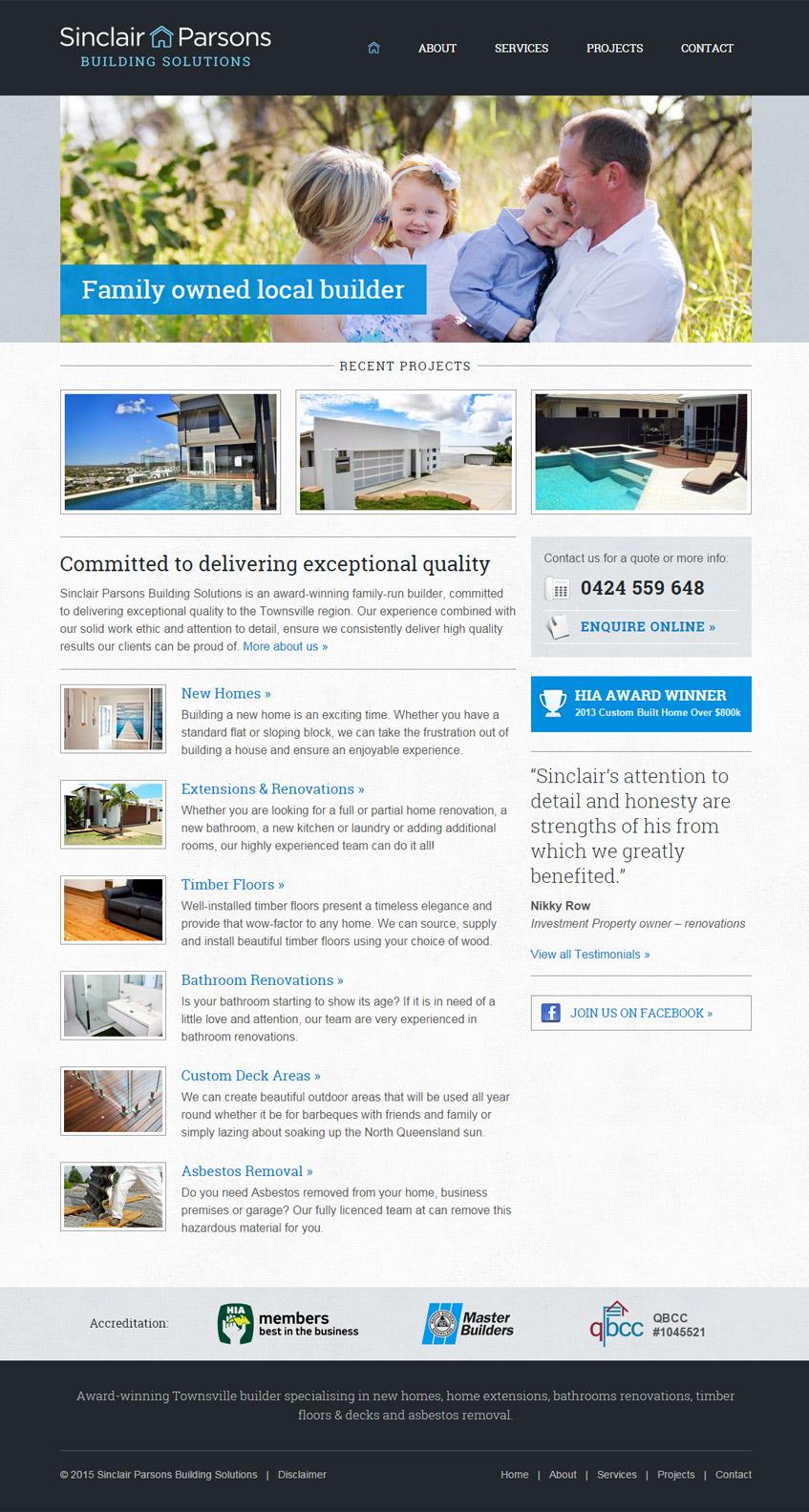 Sinclair Parsons Builder Website Design